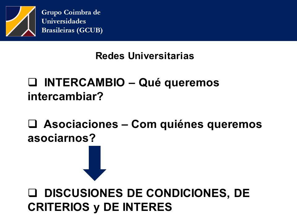 Grupo Coimbra de Universidades Brasileiras (GCUB) Redes Universitarias  INTERCAMBIO – Qué queremos intercambiar.