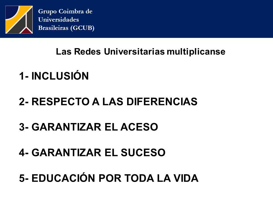 Grupo Coimbra de Universidades Brasileiras (GCUB) Las Redes Universitarias multiplicanse 1- INCLUSIÓN 2- RESPECTO A LAS DIFERENCIAS 3- GARANTIZAR EL ACESO 4- GARANTIZAR EL SUCESO 5- EDUCACIÓN POR TODA LA VIDA
