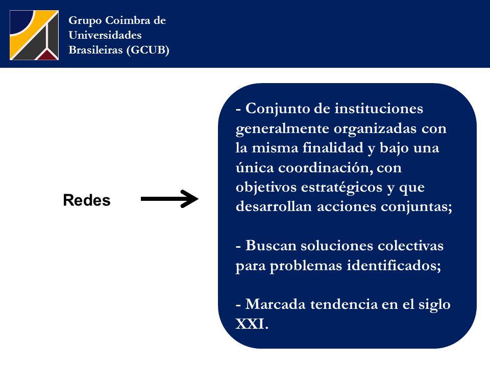 Redes Grupo Coimbra de Universidades Brasileiras (GCUB) - Conjunto de instituciones generalmente organizadas con la misma finalidad y bajo una única coordinación, con objetivos estratégicos y que desarrollan acciones conjuntas; - Buscan soluciones colectivas para problemas identificados; - Marcada tendencia en el siglo XXI.