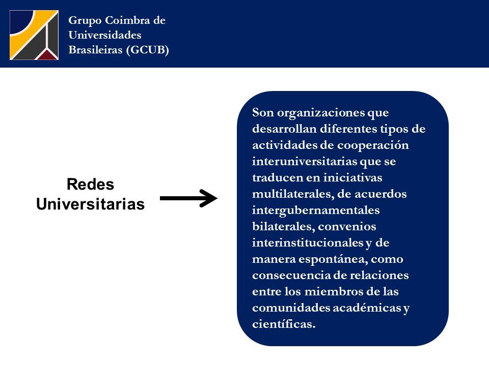 Grupo Coimbra de Universidades Brasileiras (GCUB) Son organizaciones que desarrollan diferentes tipos de actividades de cooperación interuniversitarias que se traducen en iniciativas multilaterales, de acuerdos intergubernamentales bilaterales, convenios interinstitucionales y de manera espontánea, como consecuencia de relaciones entre los miembros de las comunidades académicas y científicas.