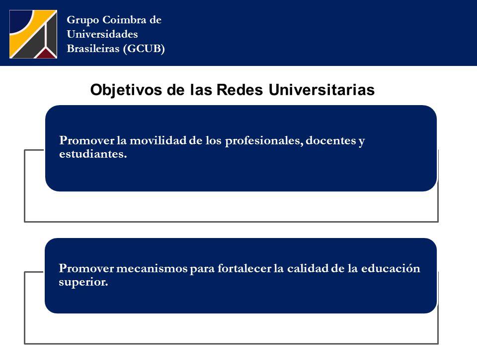 Grupo Coimbra de Universidades Brasileiras (GCUB) Objetivos de las Redes Universitarias Promover la movilidad de los profesionales, docentes y estudiantes.