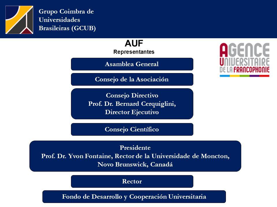 AUF Representantes Grupo Coimbra de Universidades Brasileiras (GCUB) Consejo de la Asociación Consejo Directivo Prof.