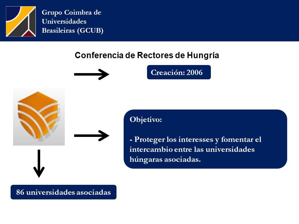 Conferencia de Rectores de Hungría Grupo Coimbra de Universidades Brasileiras (GCUB) Objetivo: - Proteger los interesses y fomentar el intercambio entre las universidades húngaras asociadas.