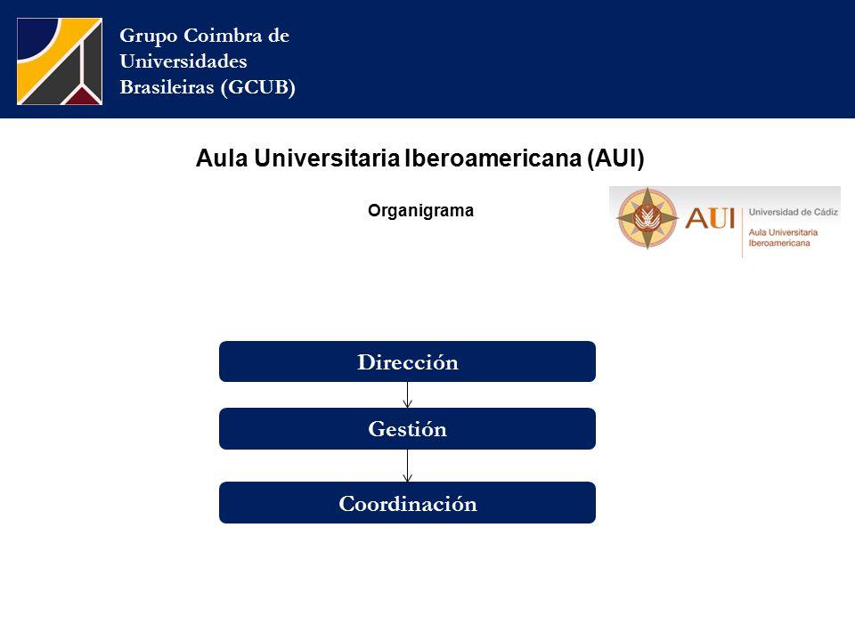 Grupo Coimbra de Universidades Brasileiras (GCUB) Gestión Coordinación Dirección Aula Universitaria Iberoamericana (AUI) Organigrama