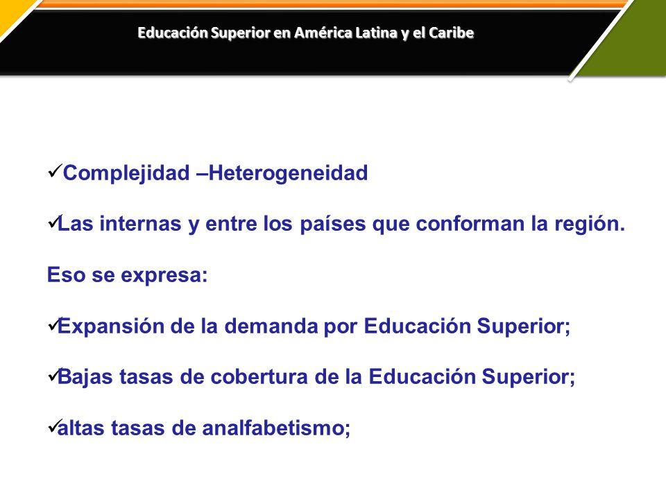 Educación Superior en América Latina y el Caribe Complejidad –Heterogeneidad Las internas y entre los países que conforman la región.
