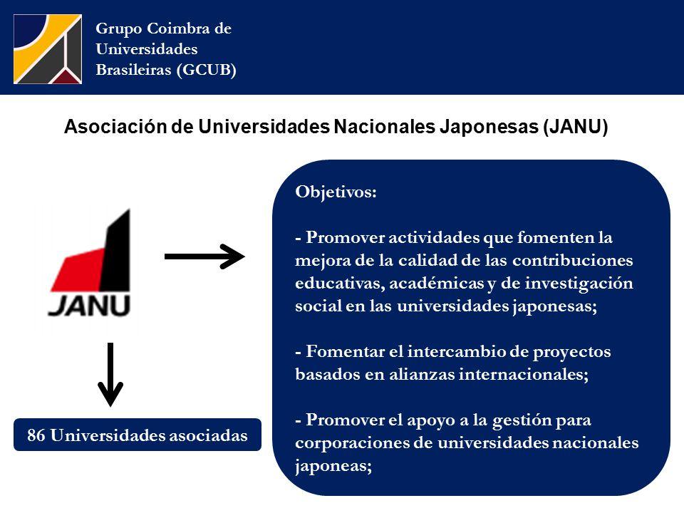 Asociación de Universidades Nacionales Japonesas (JANU) Grupo Coimbra de Universidades Brasileiras (GCUB) Objetivos: - Promover actividades que fomenten la mejora de la calidad de las contribuciones educativas, académicas y de investigación social en las universidades japonesas; - Fomentar el intercambio de proyectos basados  en alianzas internacionales; - Promover el apoyo a la gestión para corporaciones de universidades nacionales japoneas; 86 Universidades asociadas
