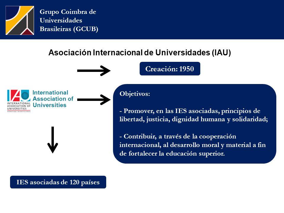 Asociación Internacional de Universidades (IAU) Grupo Coimbra de Universidades Brasileiras (GCUB) Objetivos: - Promover, en las IES asociadas, principios de libertad, justicia, dignidad humana y solidaridad; - Contribuir, a través de la cooperación internacional, al desarrollo moral y material a fin de fortalecer la educación superior.