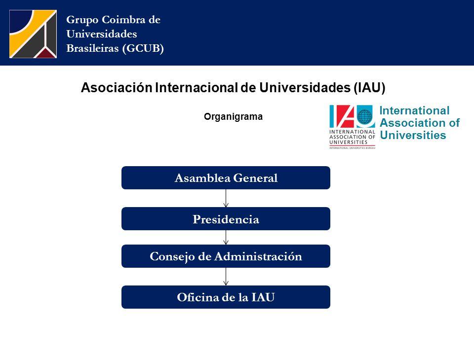 Grupo Coimbra de Universidades Brasileiras (GCUB) Consejo de Administración Oficina de la IAU Presidencia Asamblea General Asociación Internacional de Universidades (IAU) Organigrama