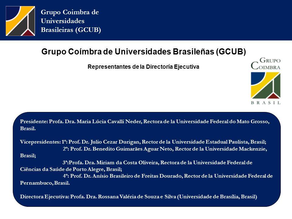Grupo Coimbra de Universidades Brasileiras (GCUB) Grupo Coímbra de Universidades Brasileñas (GCUB) Representantes de la Directoría Ejecutiva Presidente: Profa.
