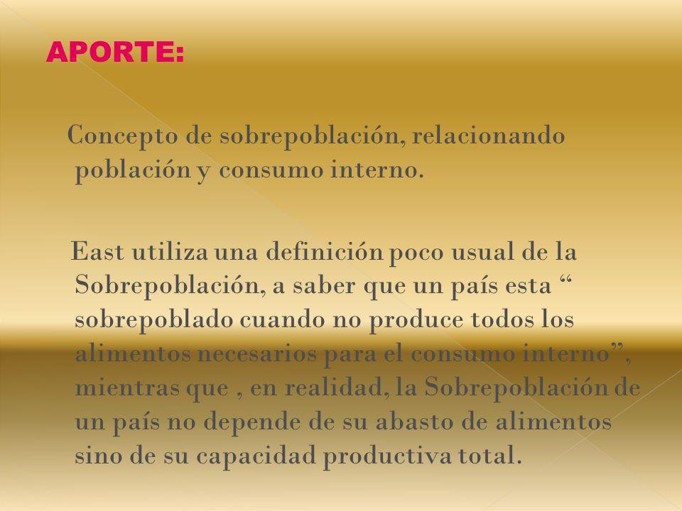 APORTE: Concepto de sobrepoblación, relacionando población y consumo interno.