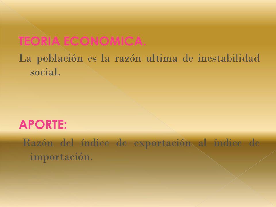 TEORIA ECONOMICA. La población es la razón ultima de inestabilidad social.