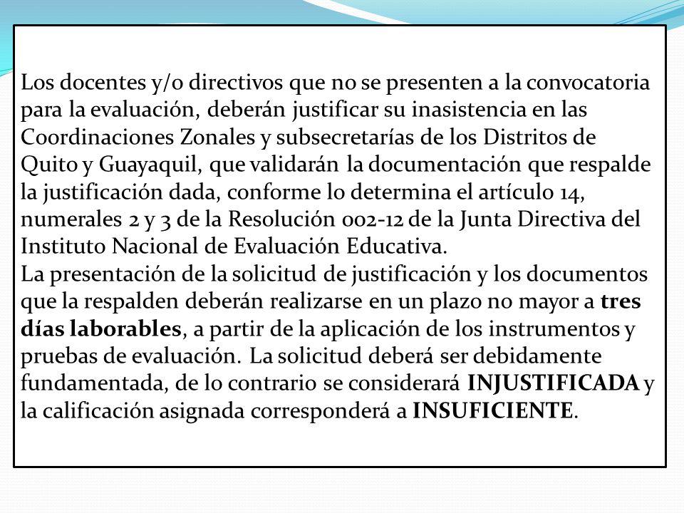 Los docentes y/o directivos que no se presenten a la convocatoria para la evaluación, deberán justificar su inasistencia en las Coordinaciones Zonales y subsecretarías de los Distritos de Quito y Guayaquil, que validarán la documentación que respalde la justificación dada, conforme lo determina el artículo 14, numerales 2 y 3 de la Resolución 002-12 de la Junta Directiva del Instituto Nacional de Evaluación Educativa.