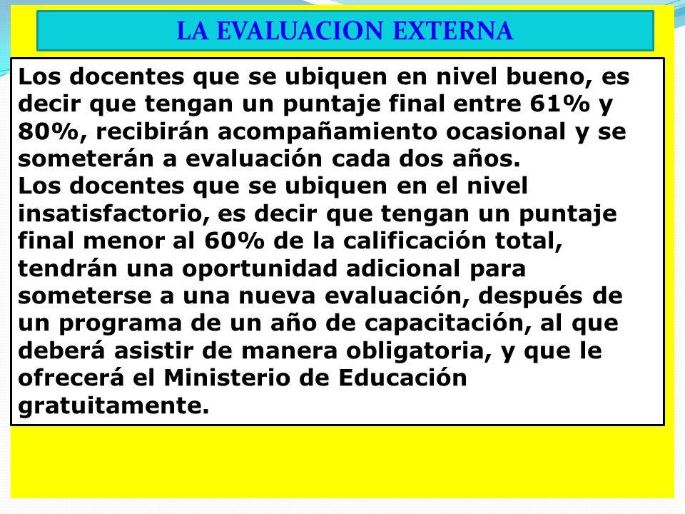 LA EVALUACION EXTERNA Los docentes que se ubiquen en nivel bueno, es decir que tengan un puntaje final entre 61% y 80%, recibirán acompañamiento ocasional y se someterán a evaluación cada dos años.
