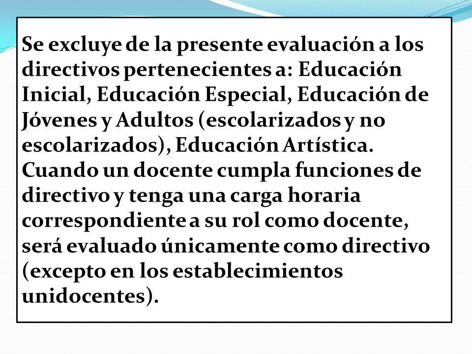 Se excluye de la presente evaluación a los directivos pertenecientes a: Educación Inicial, Educación Especial, Educación de Jóvenes y Adultos (escolarizados y no escolarizados), Educación Artística.