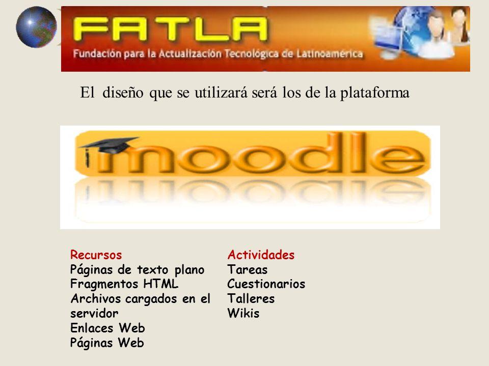 El diseño que se utilizará será los de la plataforma Recursos Páginas de texto plano Fragmentos HTML Archivos cargados en el servidor Enlaces Web Páginas Web Actividades Tareas Cuestionarios Talleres Wikis