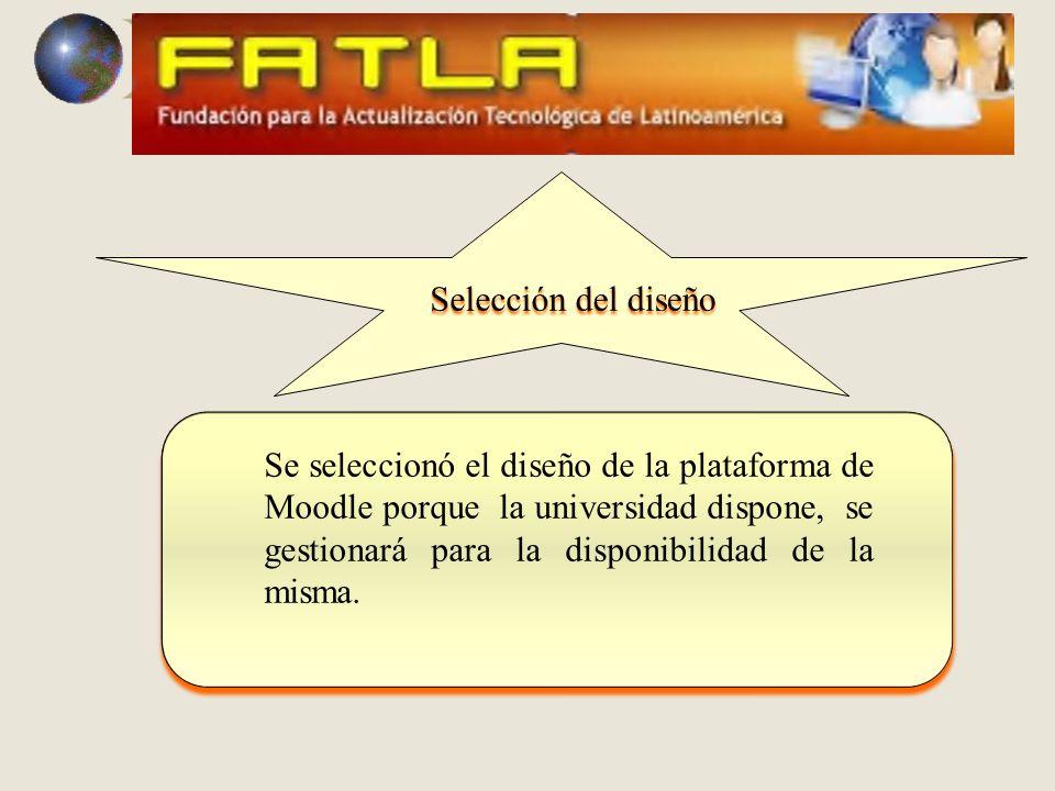 Se seleccionó el diseño de la plataforma de Moodle porque la universidad dispone, se gestionará para la disponibilidad de la misma.