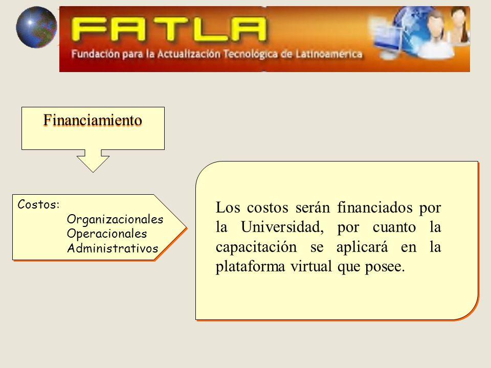 Financiamiento Costos: Organizacionales Operacionales Administrativos Costos: Organizacionales Operacionales Administrativos Los costos serán financiados por la Universidad, por cuanto la capacitación se aplicará en la plataforma virtual que posee.