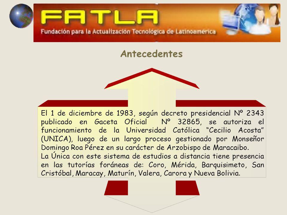 El 1 de diciembre de 1983, según decreto presidencial Nº 2343 publicado en Gaceta Oficial Nº 32865, se autoriza el funcionamiento de la Universidad Católica Cecilio Acosta (UNICA), luego de un largo proceso gestionado por Monseñor Domingo Roa Pérez en su carácter de Arzobispo de Maracaibo.