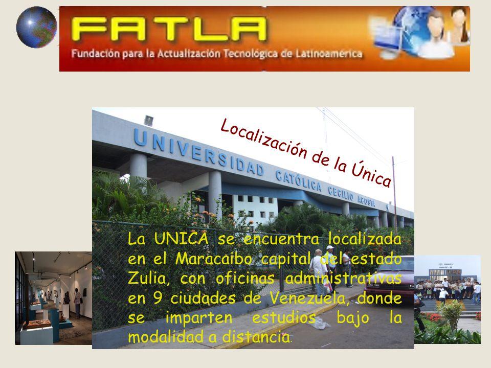 La UNICA se encuentra localizada en el Maracaibo capital del estado Zulia, con oficinas administrativas en 9 ciudades de Venezuela, donde se imparten estudios bajo la modalidad a distancia.