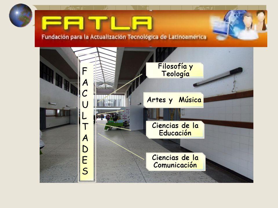 Ciencias de la Educación Artes y Música Ciencias de la Comunicación FACULTADESFACULTADES Filosofía y Teología