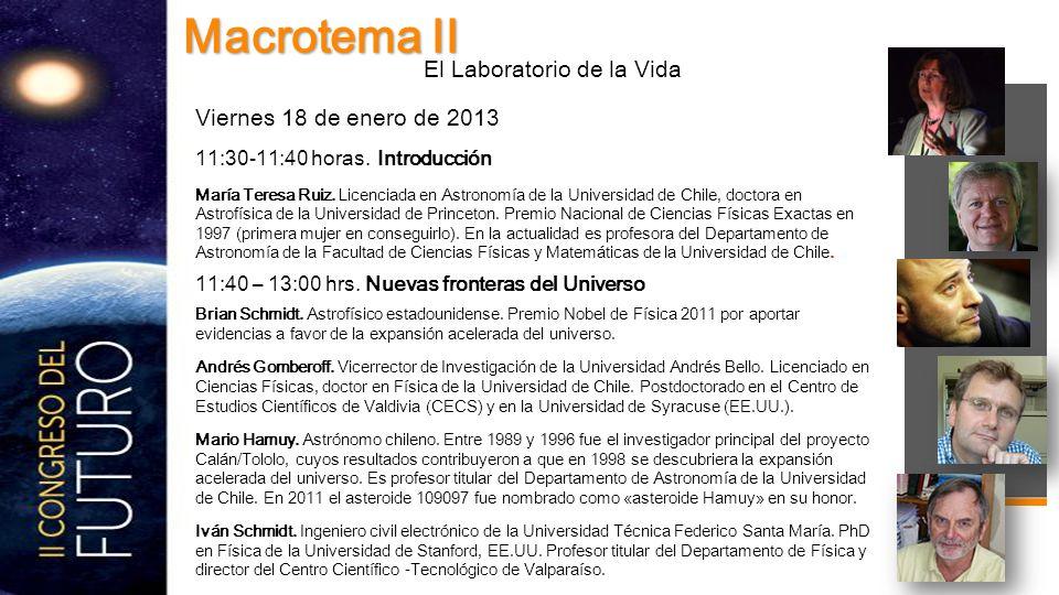 Viernes 18 de enero de 2013 11:30-11:40 horas. Introducción María Teresa Ruiz.