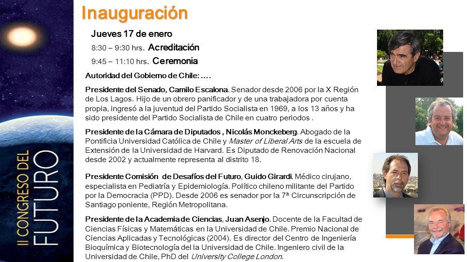 Autoridad del Gobierno de Chile: …. Presidente del Senado, Camilo Escalona.
