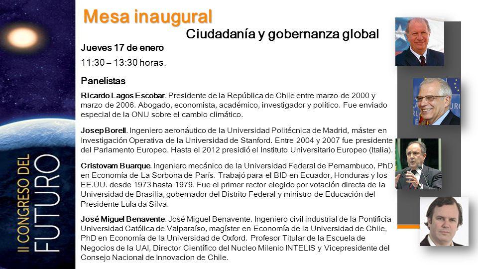 11:30 – 13:30 horas. Panelistas Ricardo Lagos Escobar.