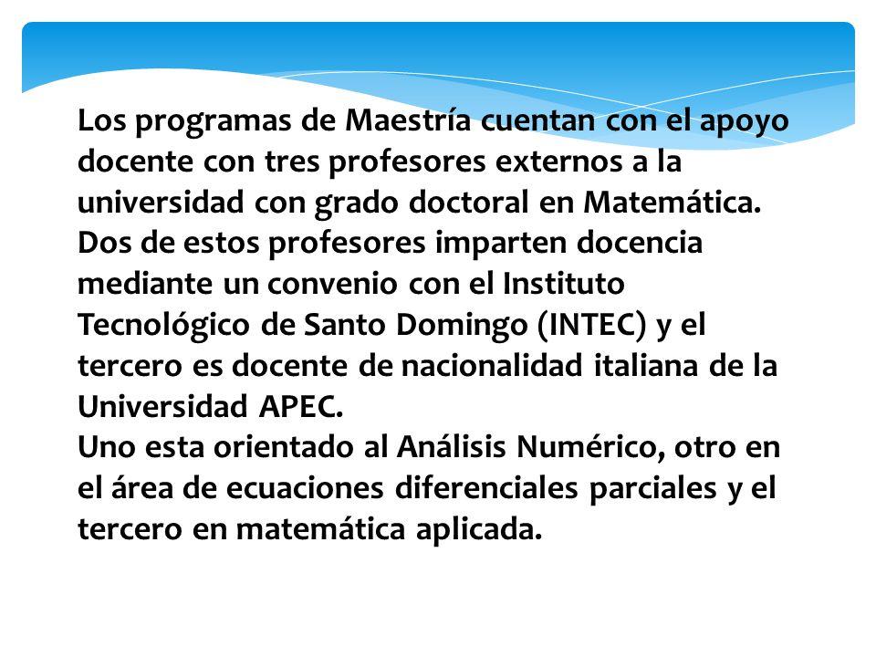 Los programas de Maestría cuentan con el apoyo docente con tres profesores externos a la universidad con grado doctoral en Matemática.