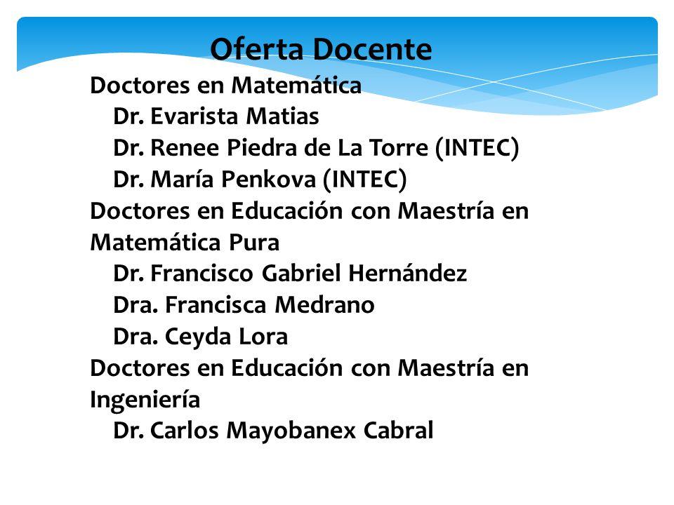 Oferta Docente Doctores en Matemática Dr. Evarista Matias Dr.