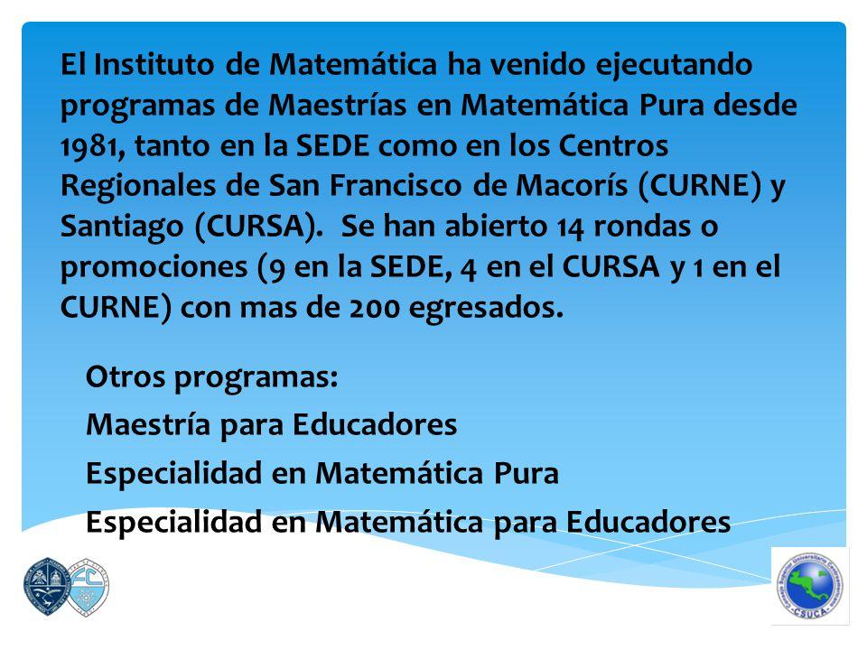El Instituto de Matemática ha venido ejecutando programas de Maestrías en Matemática Pura desde 1981, tanto en la SEDE como en los Centros Regionales de San Francisco de Macorís (CURNE) y Santiago (CURSA).