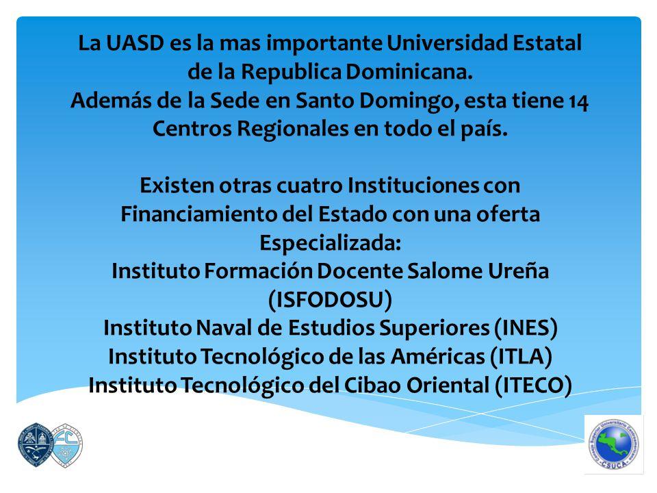 La UASD es la mas importante Universidad Estatal de la Republica Dominicana.