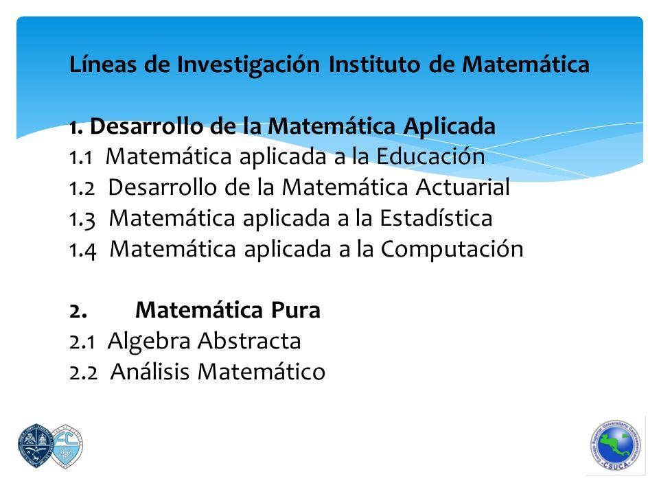 Líneas de Investigación Instituto de Matemática 1.