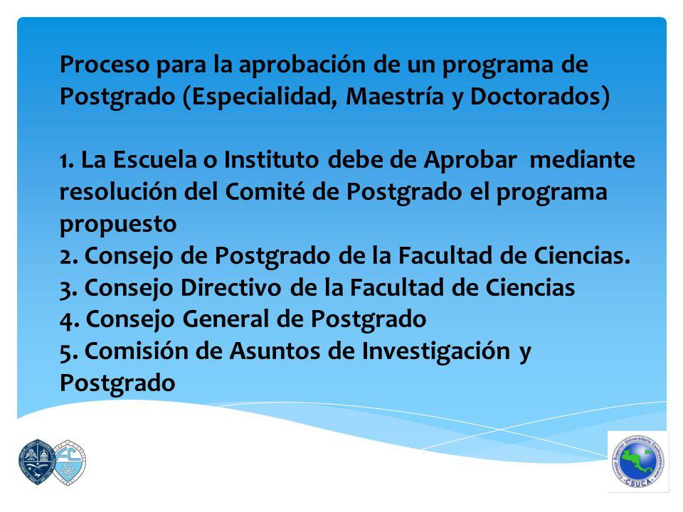 Proceso para la aprobación de un programa de Postgrado (Especialidad, Maestría y Doctorados) 1.