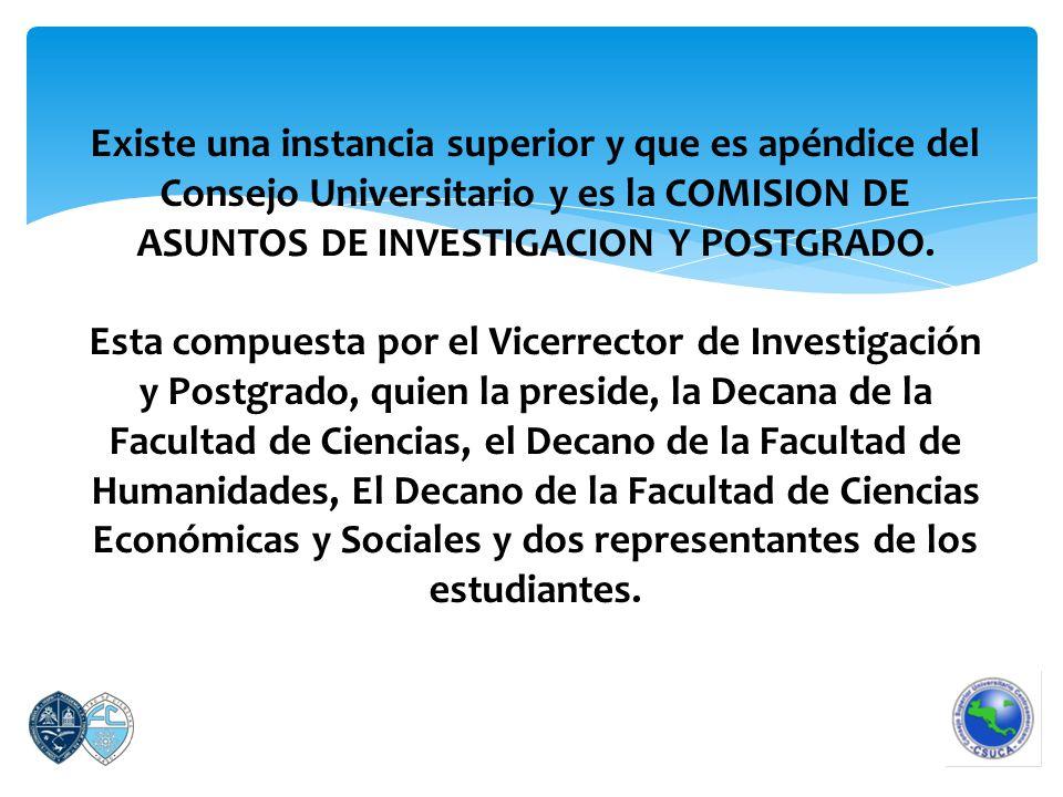 Existe una instancia superior y que es apéndice del Consejo Universitario y es la COMISION DE ASUNTOS DE INVESTIGACION Y POSTGRADO.