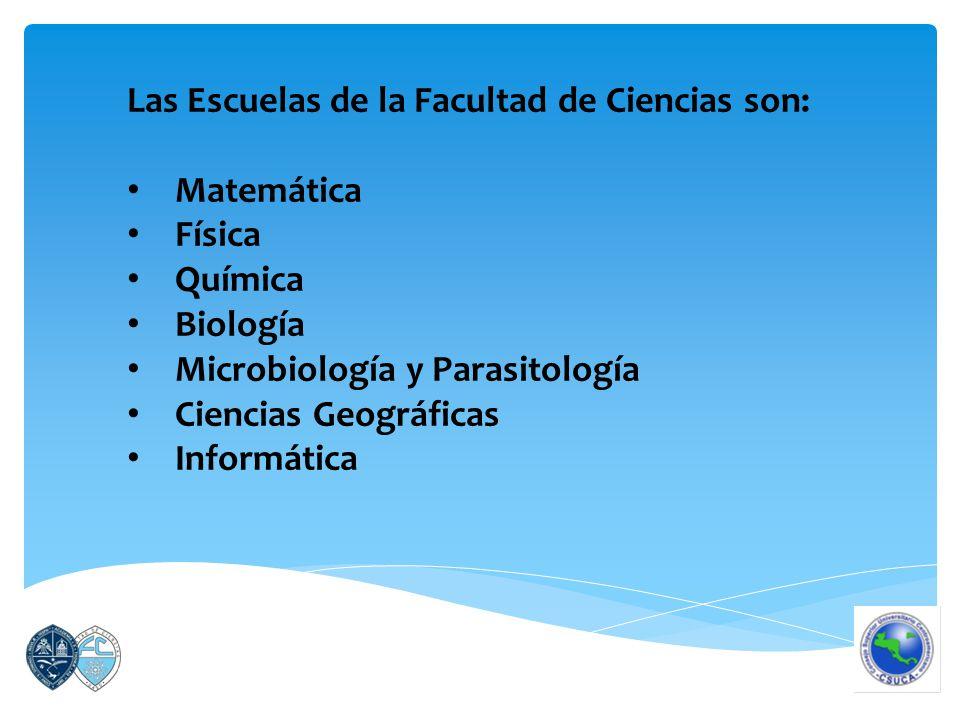 Las Escuelas de la Facultad de Ciencias son: Matemática Física Química Biología Microbiología y Parasitología Ciencias Geográficas Informática
