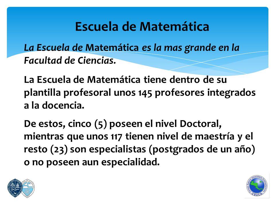 Escuela de Matemática La Escuela de Matemática es la mas grande en la Facultad de Ciencias.