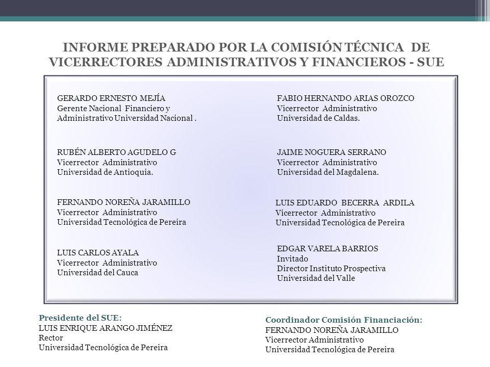 INFORME PREPARADO POR LA COMISIÓN TÉCNICA DE VICERRECTORES ADMINISTRATIVOS Y FINANCIEROS - SUE Coordinador Comisión Financiación: FERNANDO NOREÑA JARAMILLO Vicerrector Administrativo Universidad Tecnológica de Pereira Presidente del SUE: LUIS ENRIQUE ARANGO JIMÉNEZ Rector Universidad Tecnológica de Pereira GERARDO ERNESTO MEJÍA Gerente Nacional Financiero y Administrativo Universidad Nacional.
