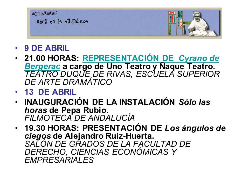 9 DE ABRIL 21.00 HORAS: REPRESENTACIÓN DE Cyrano de Bergerac a cargo de Uno Teatro y Ñaque Teatro.