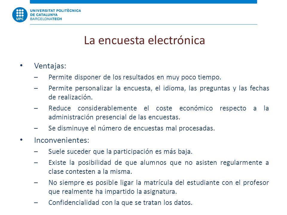 La encuesta electrónica Ventajas: –Permite disponer de los resultados en muy poco tiempo.