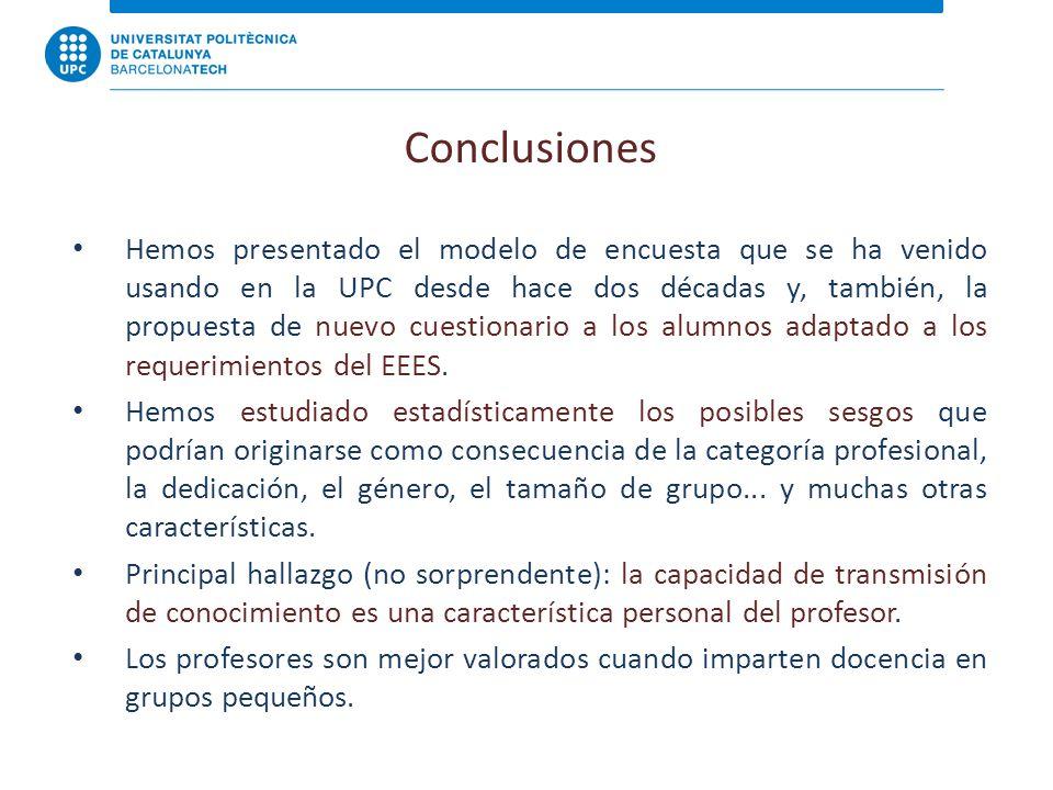 Conclusiones Hemos presentado el modelo de encuesta que se ha venido usando en la UPC desde hace dos décadas y, también, la propuesta de nuevo cuestionario a los alumnos adaptado a los requerimientos del EEES.