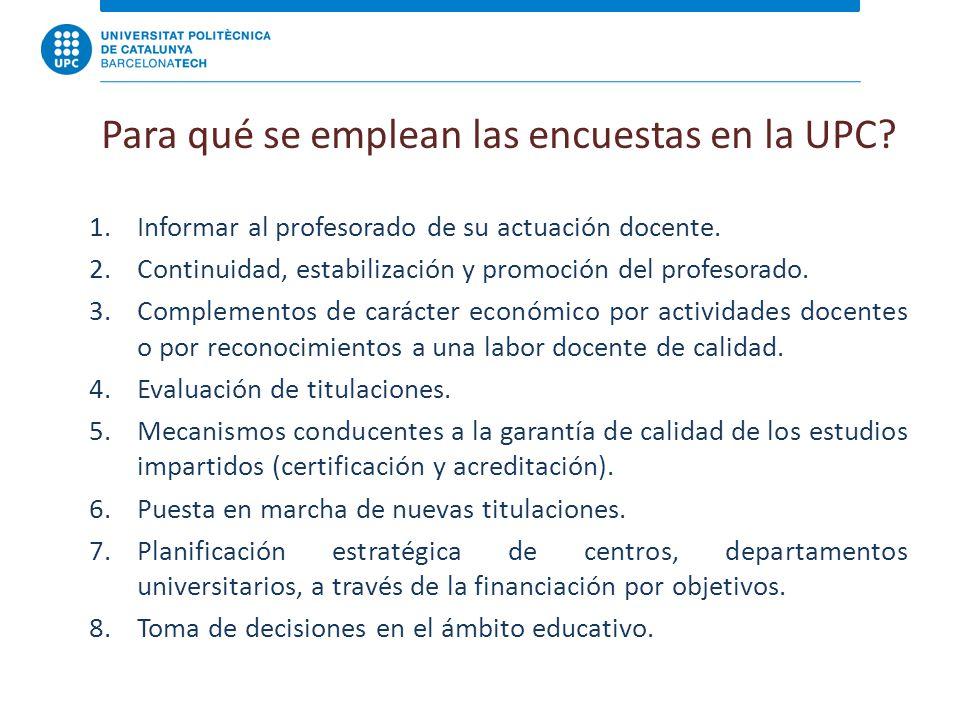 Para qué se emplean las encuestas en la UPC. 1.Informar al profesorado de su actuación docente.