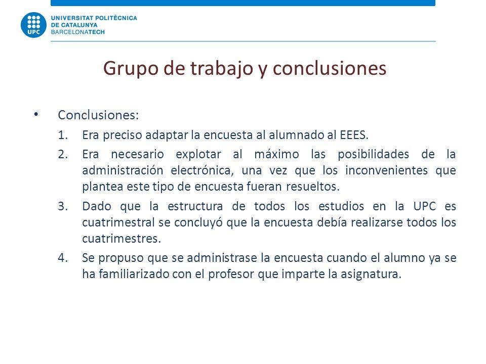 Grupo de trabajo y conclusiones Conclusiones: 1.Era preciso adaptar la encuesta al alumnado al EEES.