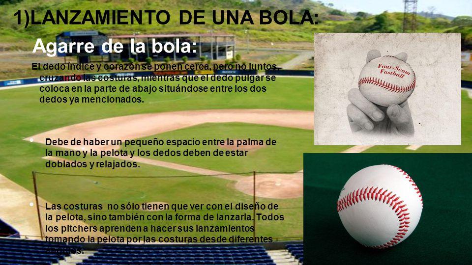 MECÁNICA DE LANZAMIENTO: Existen tres tipos de lanzamientos: Bolas rapidas: Es el lanzamiento más importante en el repertorio del lanzador y el que utiliza con mayor frecuencia para eliminar a los bateadores.
