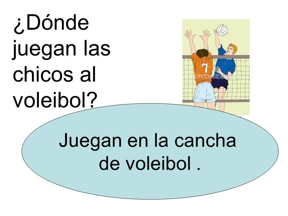 ¿Dónde juegan las chicos al voleibol Juegan en la cancha de voleibol.