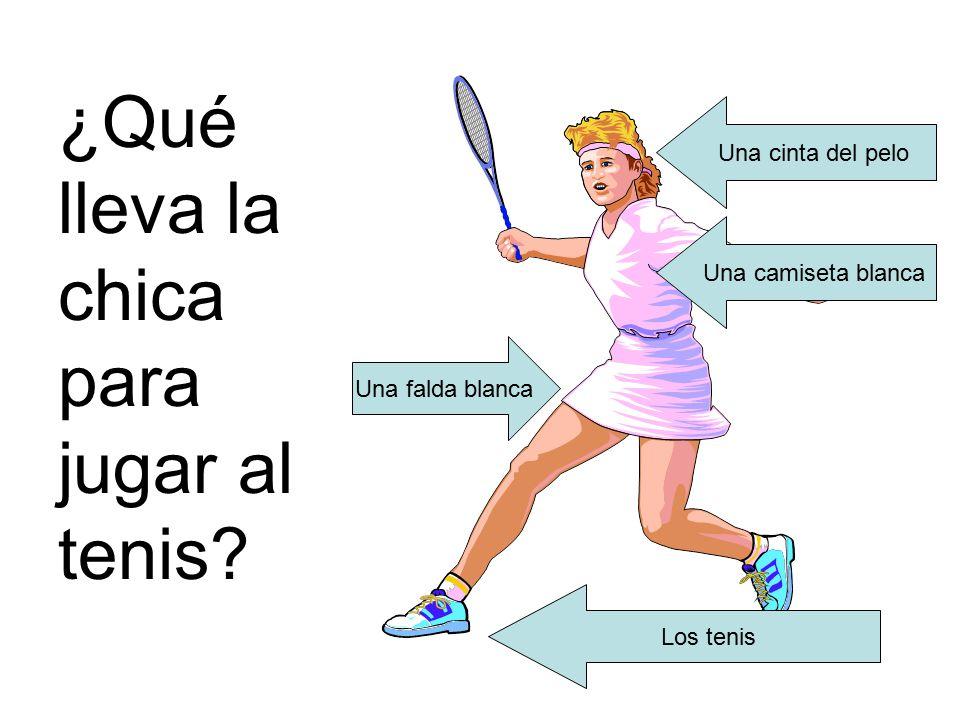 ¿Qué lleva la chica para jugar al tenis.
