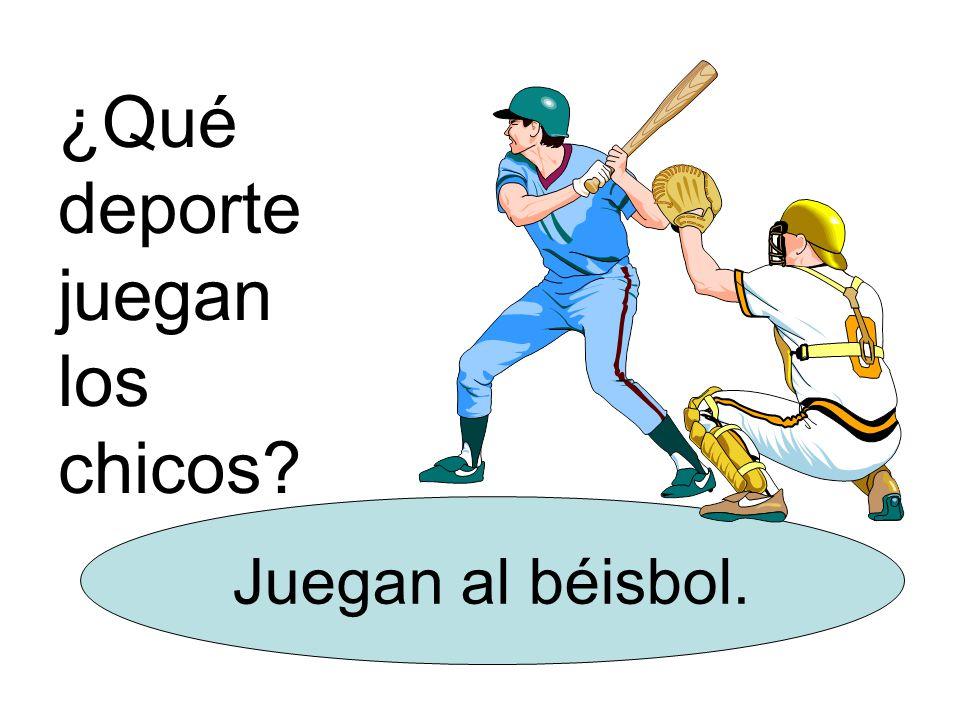 ¿Qué deporte juegan los chicos Juegan al béisbol.