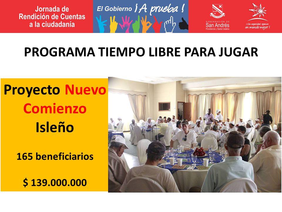 Proyecto Nuevo Comienzo Isleño 165 beneficiarios $ 139.000.000 PROGRAMA TIEMPO LIBRE PARA JUGAR