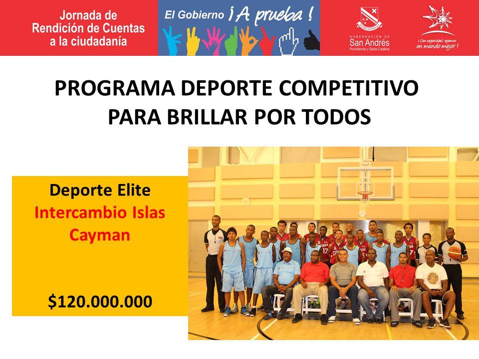 Deporte Elite Intercambio Islas Cayman $120.000.000 PROGRAMA DEPORTE COMPETITIVO PARA BRILLAR POR TODOS