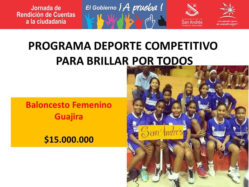 Baloncesto Femenino Guajira $15.000.000 PROGRAMA DEPORTE COMPETITIVO PARA BRILLAR POR TODOS