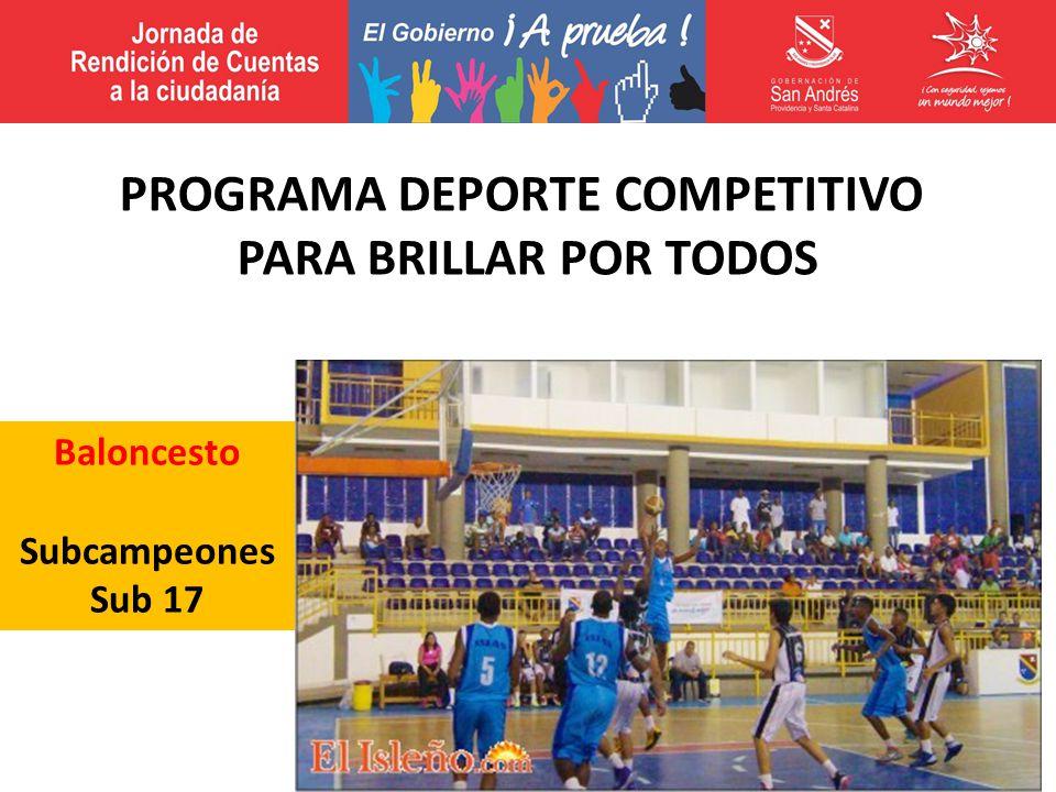Baloncesto Subcampeones Sub 17 PROGRAMA DEPORTE COMPETITIVO PARA BRILLAR POR TODOS